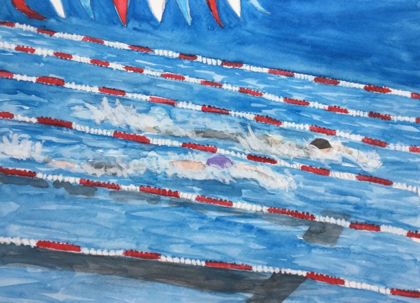Watercolor Swim Race by Eileen McKenna.