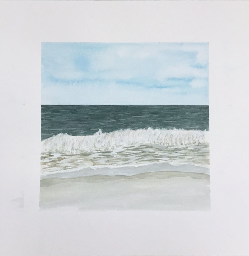 Painting the beach nd ocean in watercolor