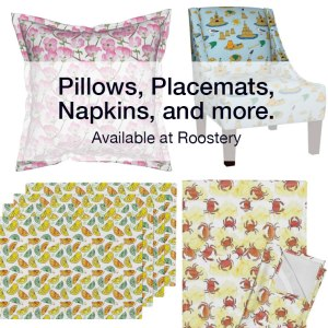 Fabric prints available as pillows, tea towels, napkins, placements, chairs, and more. Designs by Eileen McKenna