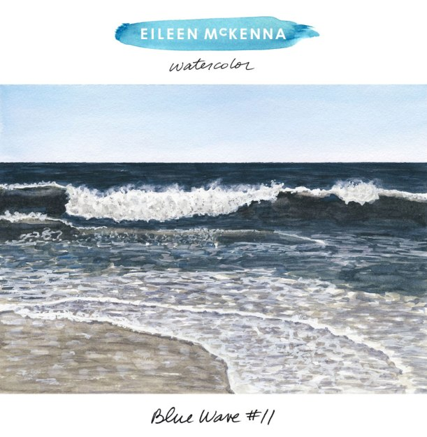 """Blue Wave #11"" by Eileen McKenna. Watercolor ocean paintings available as art giclee prints. Beach 