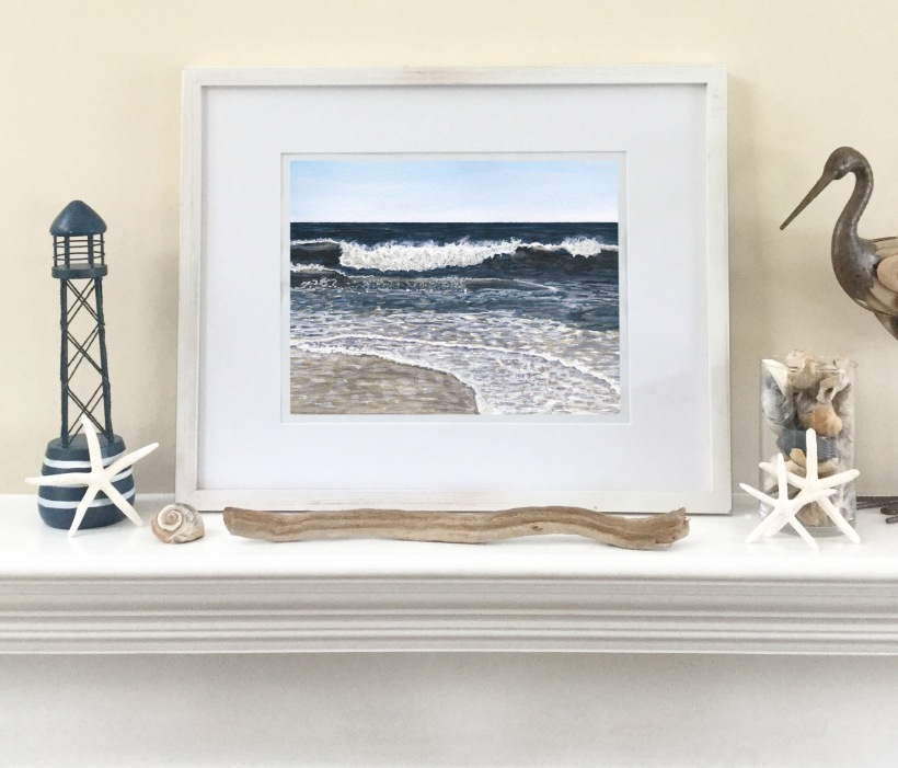 Beachy mantle | coastal decor | ocean watercolor painting print | Blue Wave #11 by Eileen McKenna