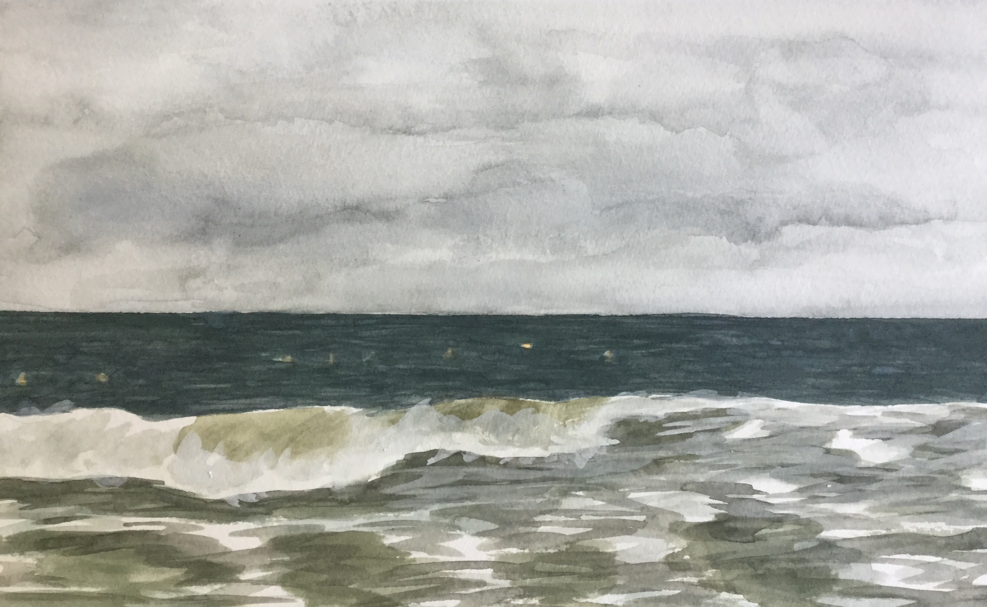 Painting a cloudy sky in watercolor
