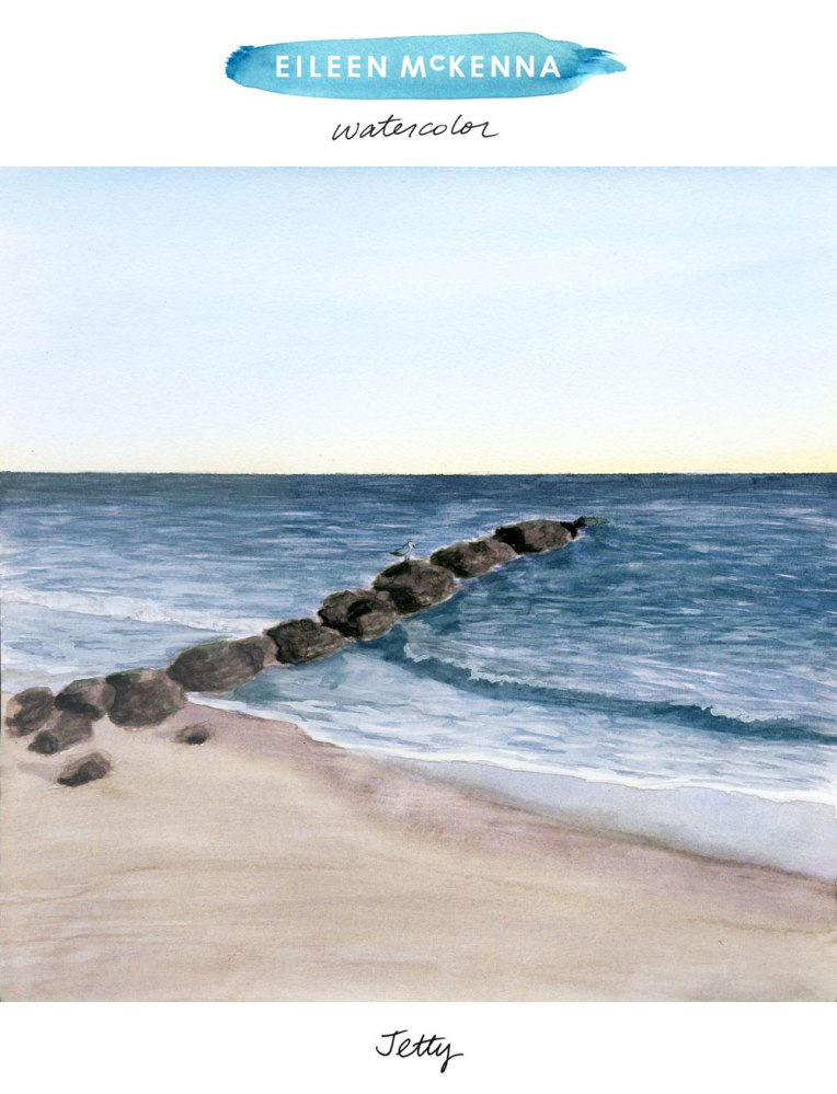 Jetty by Eileen McKenna, beach watercolor painting available as giclee art prints.