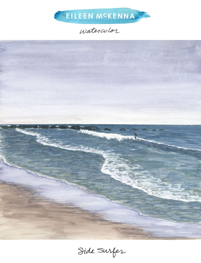 Side Surfer by Eileen McKenna. Watercolor painting available as limited edition giclee art prints   beach   surfing   surfer   waves