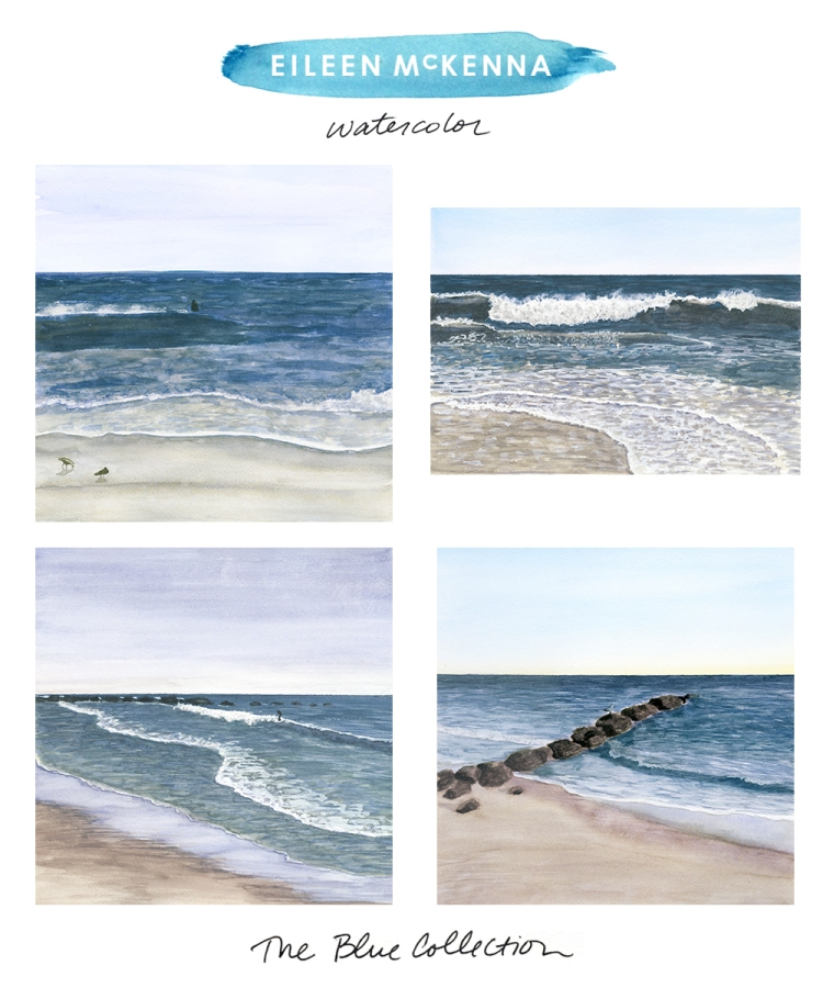 The Blue Collection by Eileen McKenna | watercolor beach ocean landscapes available as limited edition giclee art prints at shop.eileenmckenna.com