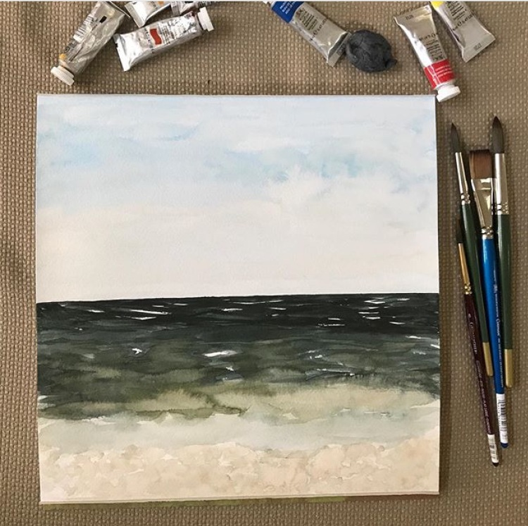 Seascapes - first later   watercolor   painting   watercolor layers   ocean beach painting