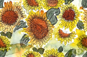 Watercolor Sunflowers fabric print design by Eileen McKenna