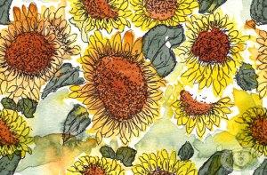 Watercolor Sunflowers fabric print design by Eileen McKenna