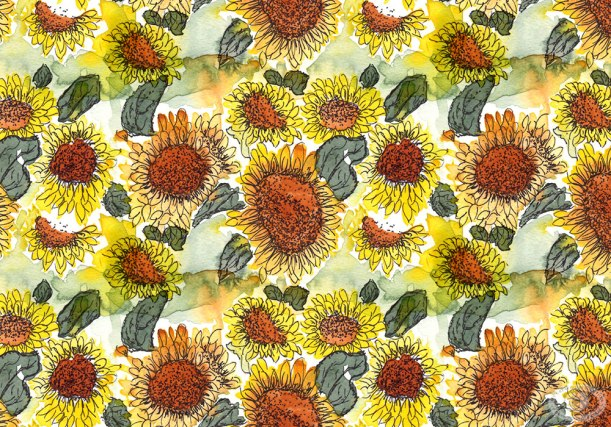 Watercolor Sunflower Fabric Print Design by Eileen McKenna