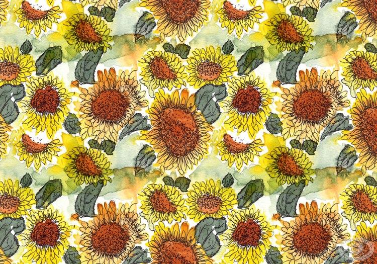 Watercolor Sunflower Fabric Print Design by Eileen McKenna