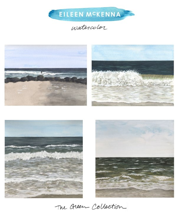 The Green Collection by Eileen McKenna | watercolor beach ocean landscapes available as limited edition giclee art prints at shop.eileenmckenna.com