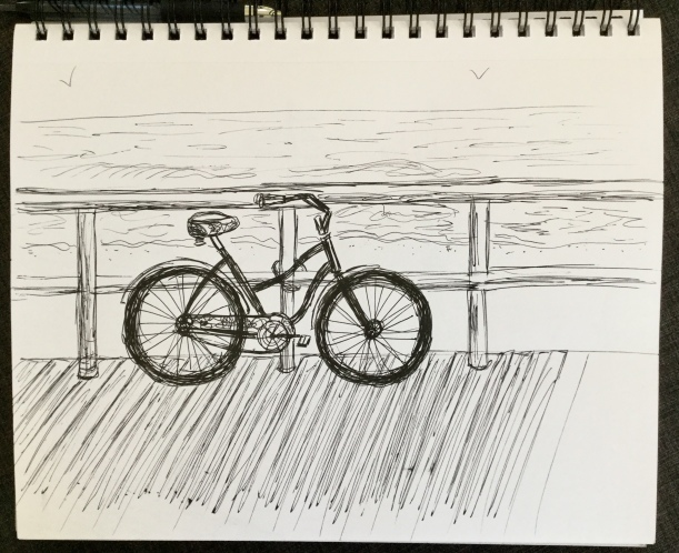 Beach cruiser Inktober sketchbook Eileen McKenna