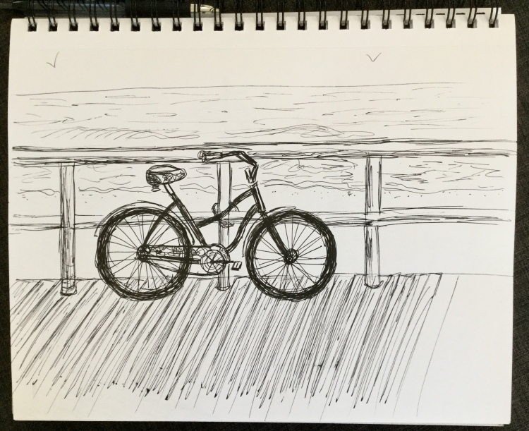 Beach cruiser Inktober sketchbook Eileen McKenna