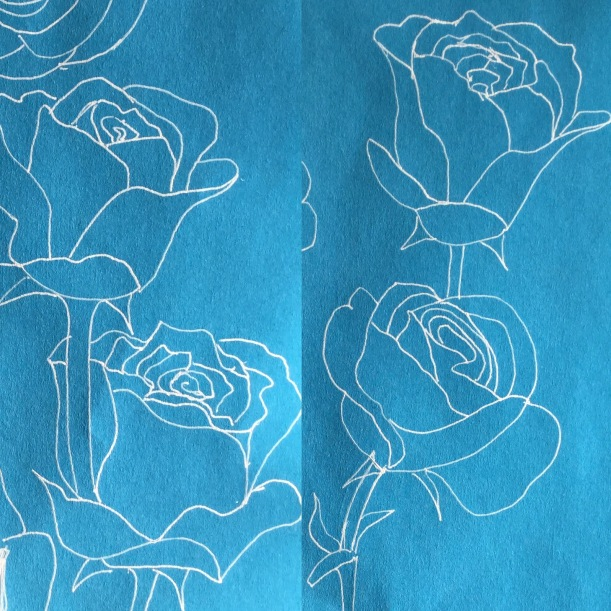 Roses with white gel pen #inktober