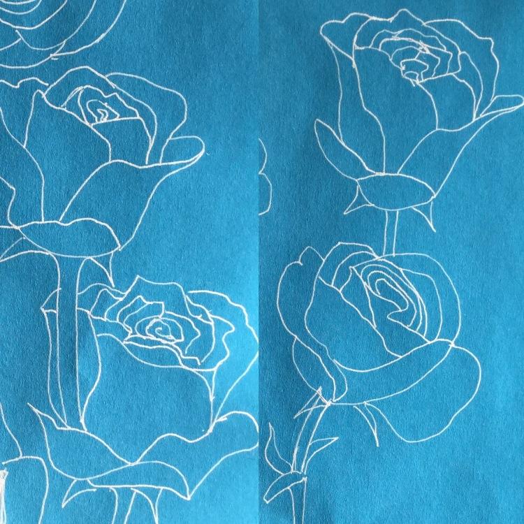Roses with white gel pen #inktober