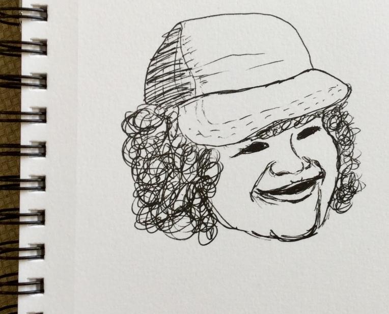 Dustin from Stranger Things. An InkTober sketch by Eileen McKenna