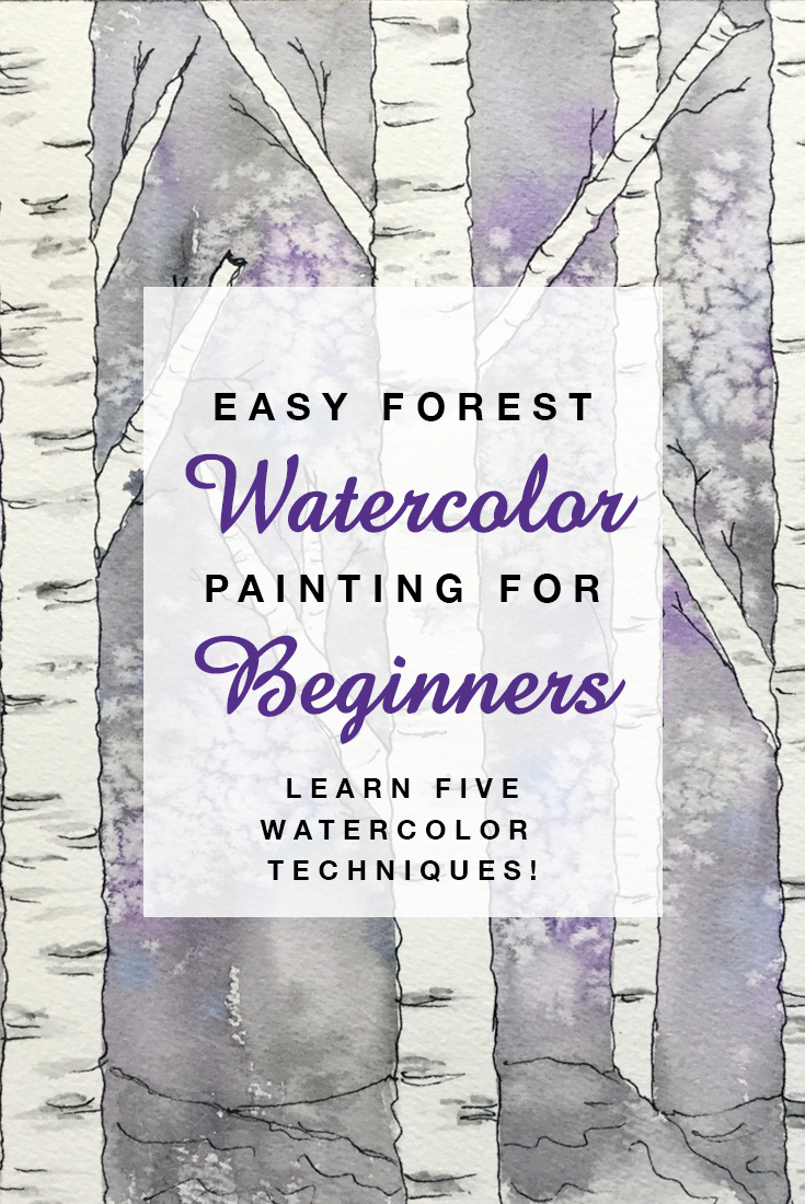 Easy Forest Watercolor Painting for Beginners | Learn watercolor techniques! #winter #forest #watercolor #beginners