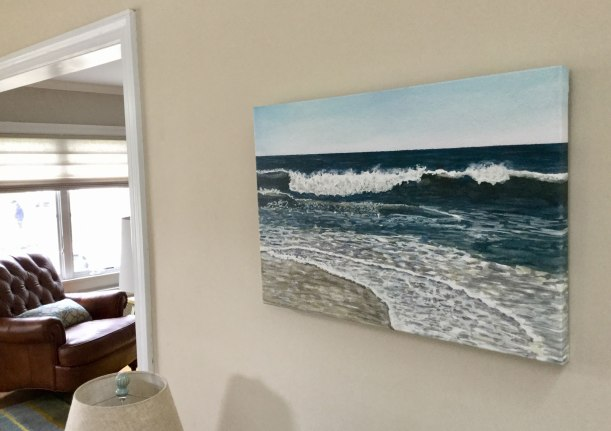 Blue Wave #11 Canvas Print by Eileen McKenna   Watercolor seascapes #coastalinteriors
