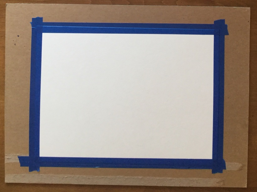 Watercolor best practices - tape your paper to a piece of paper to prevent bucking