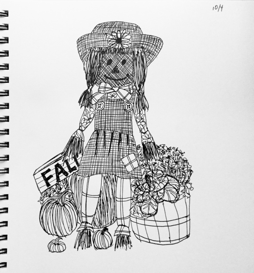 InkTober Day 4 scarecrow