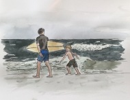 Surfer dad and son watercolor and ink sketch by Eileen McKenna | #inktober