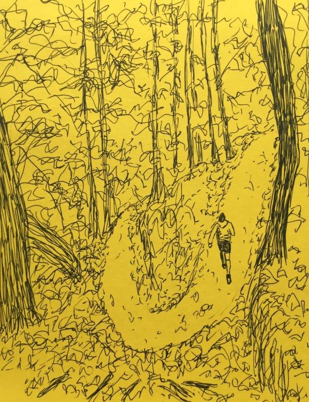Running trail. InkTober sketch by Eileen McKenna