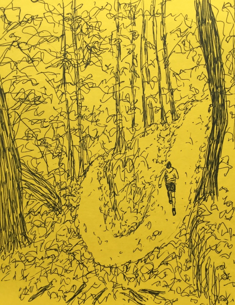 Running trail. InkTober sketch by Eileen McKenna