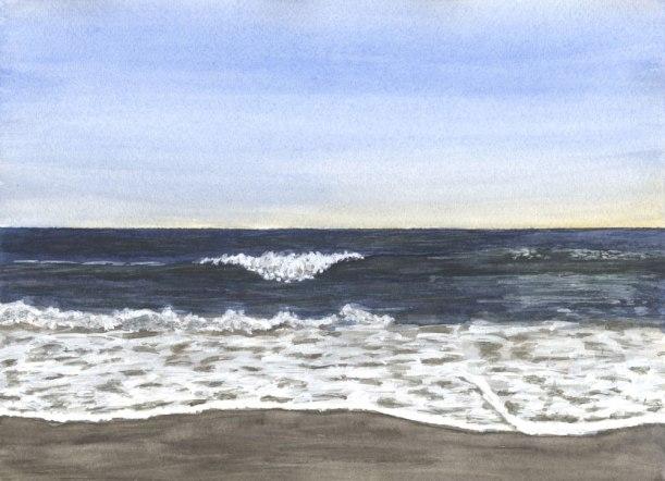 Yellow Sky by Eileen McKenna   Watercolor seascape #coastalinteriors
