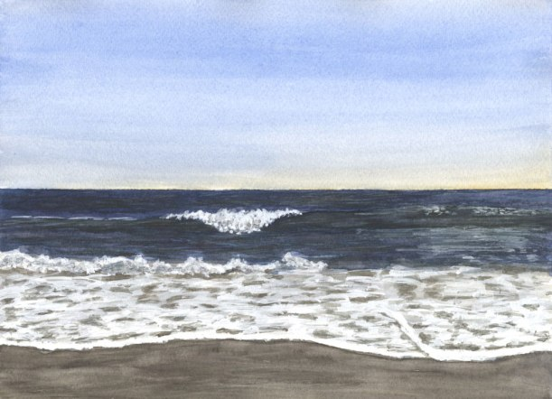 Yellow Sky by Eileen McKenna | Watercolor seascape #coastalinteriors