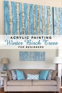 Easy Acrylic Birch Tree Painting #beginner #painting