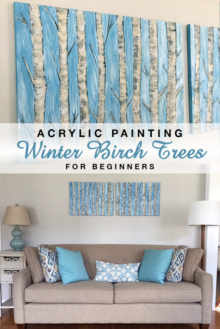 Acrylic Painting Winter Birch Trees for Beginners #painting #beginners #acrylics #winter #trees