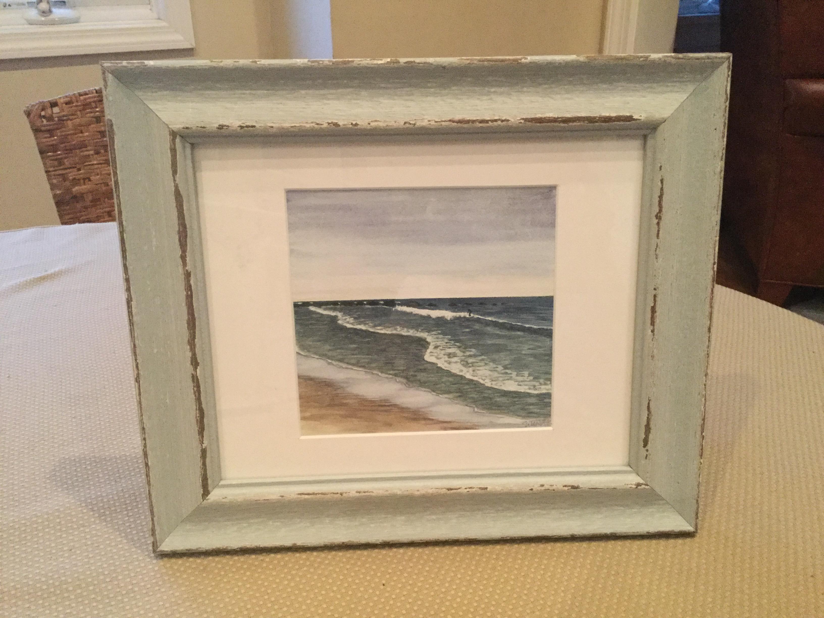 Side surfer watercolor print by Eileen McKenna #coastalart