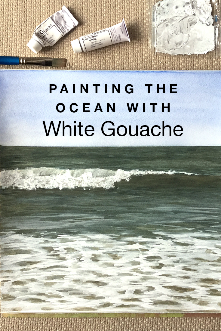Painting the ocean with white gouache #painting #gouache #ocean #waves
