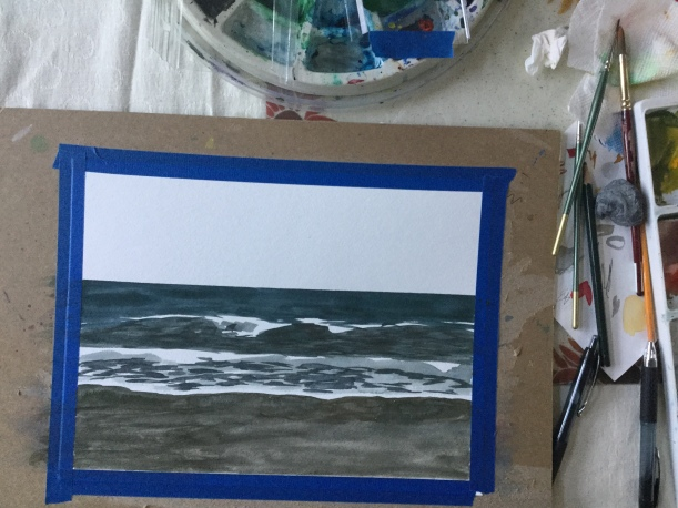 Stages of a watercolor ocean painting by Eileen McKenna