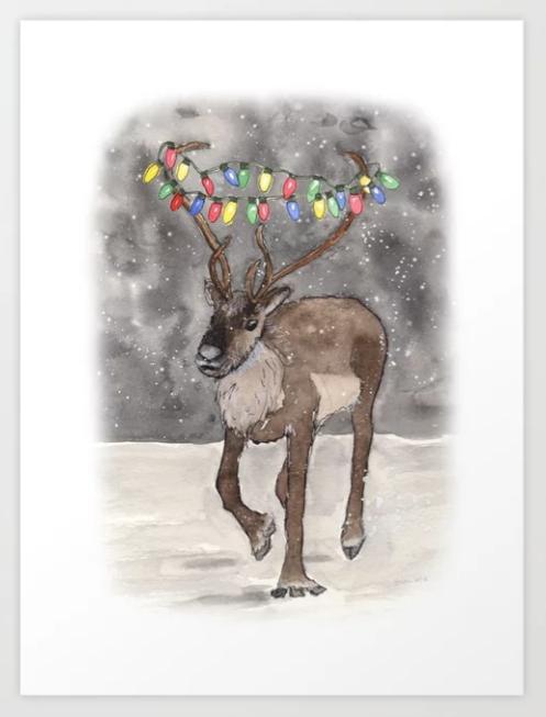 Reindeer with Holiday Lights Art Print