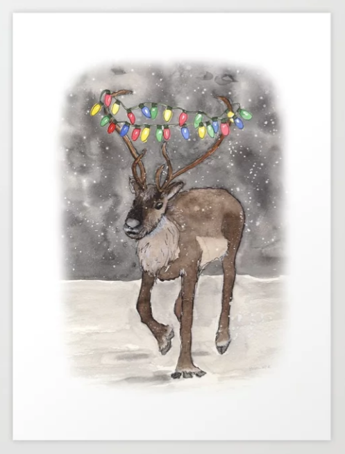 Reindeer with Holiday Lights Art Print