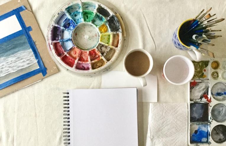 Watercolor setup. Eileen McKenna. #artist #setup