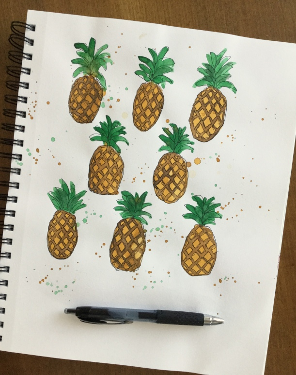 Pineapple Party fabric print #fabric #pineapples