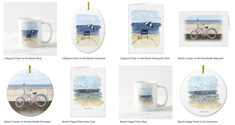 Beach notecards, mugs, ornaments by Eileen McKenna on Zazzle #beach #gifts #summer