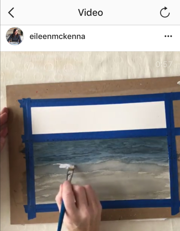 Painting sea foam with white gouache #watercolor #ocean