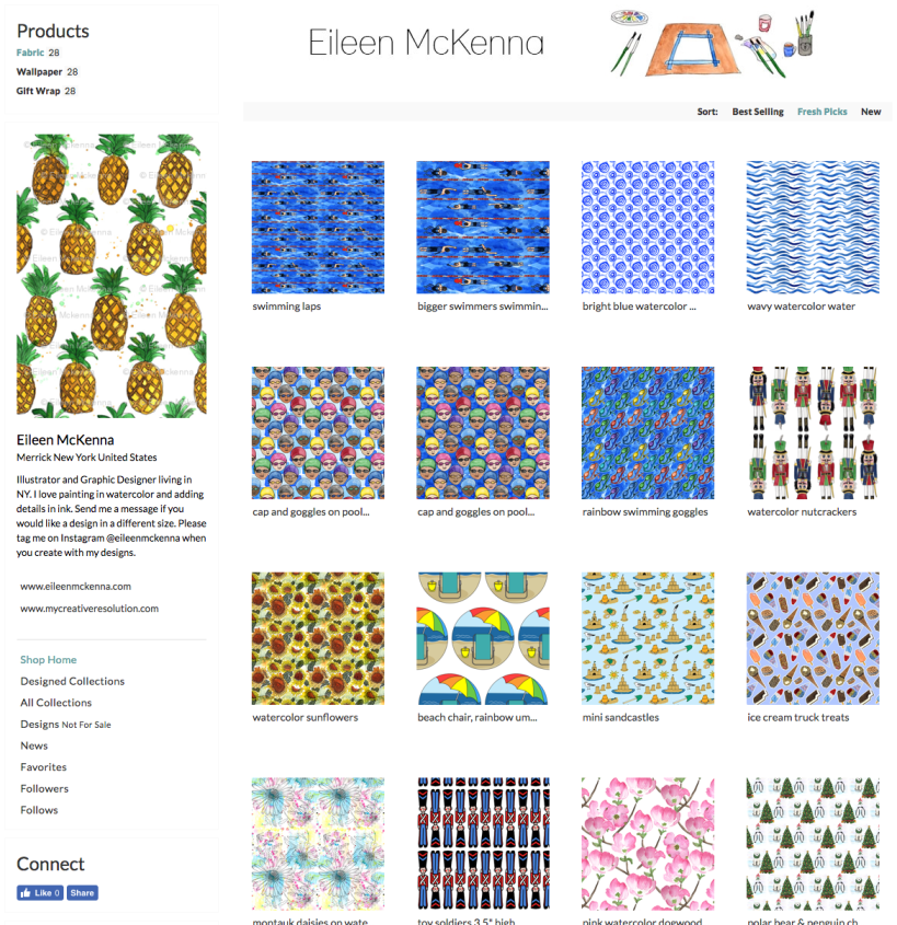 Eileen McKenna's Spoonflower shop #fabric #prints #design
