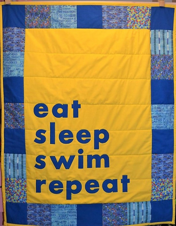 """Eat, Sleep, Sew, Repeat"" swimming quilt by Wee Susie Stitches #swimming #quilt"