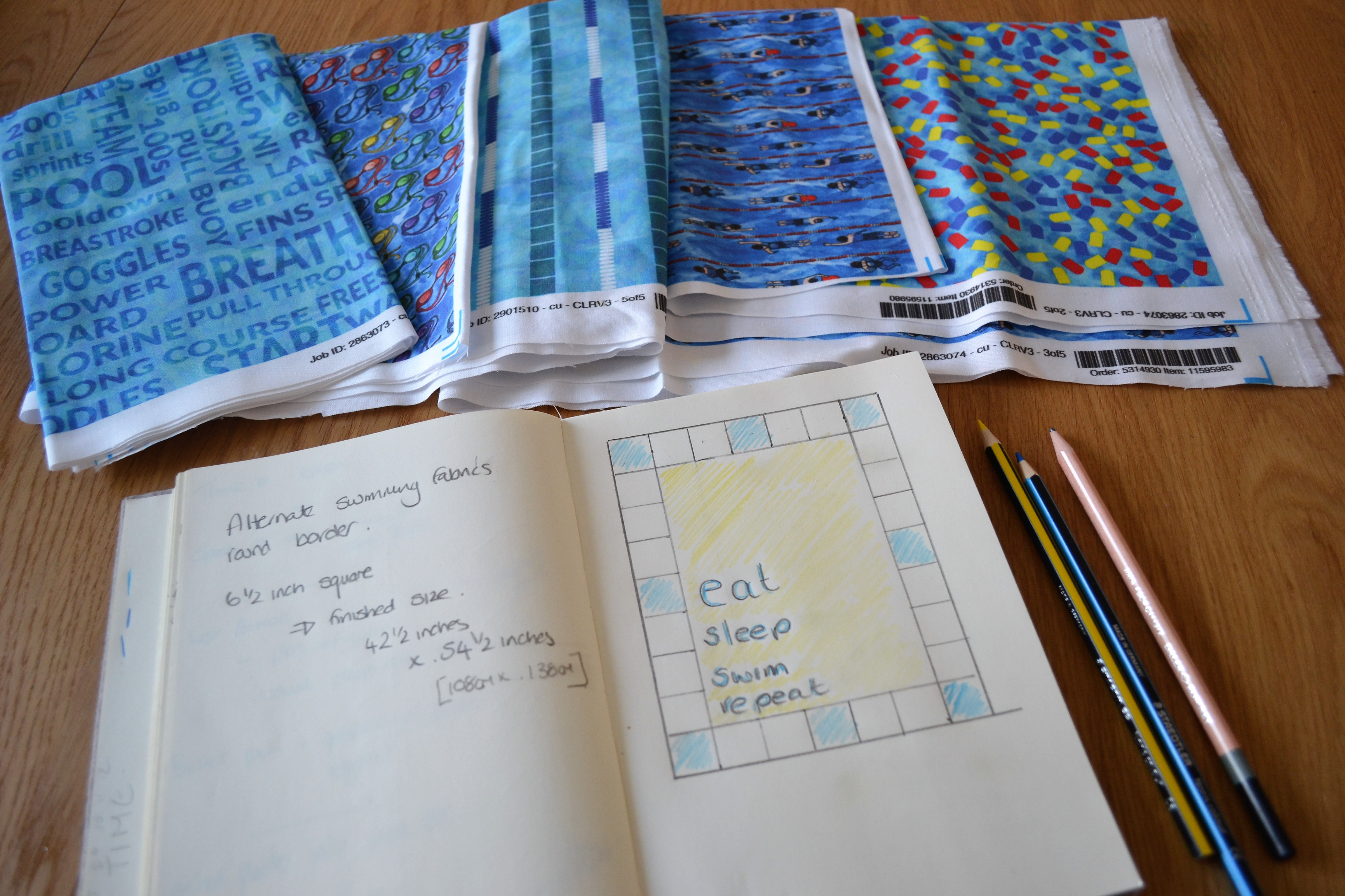 """""""Eat, Sleep, Sew, Repeat"""" swimming quilt by Wee Susie Stitches #swimming #quilt"""