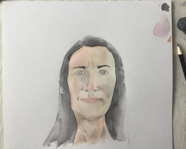Practicing watercolor portraits