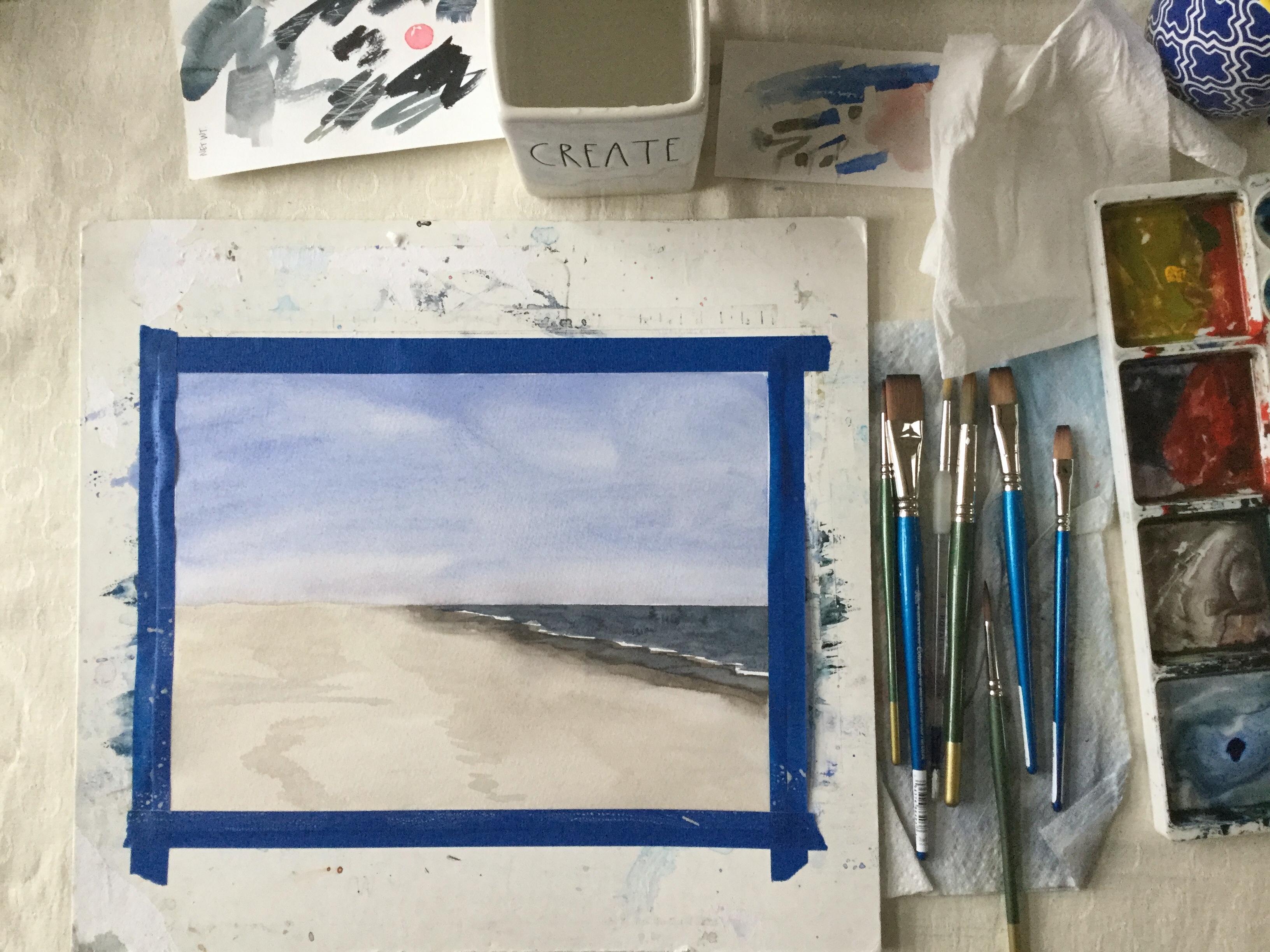 Blue skies in watercolor