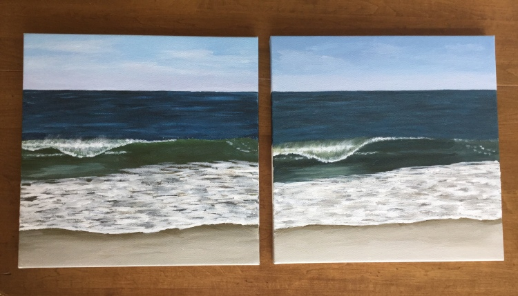 From watercolor to acrylic. Seascapes