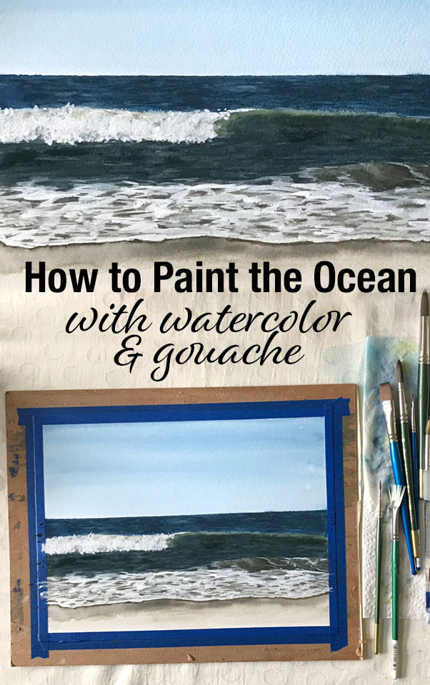 How to paint the ocean in watercolor and gouache | tutorial | step by step instructions | painting tips
