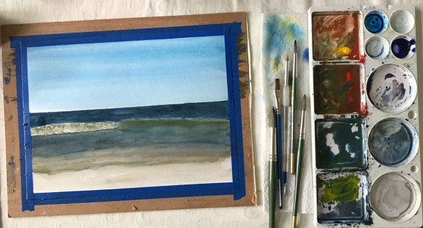 How to paint the ocean in watercolor and gouache | painting tips