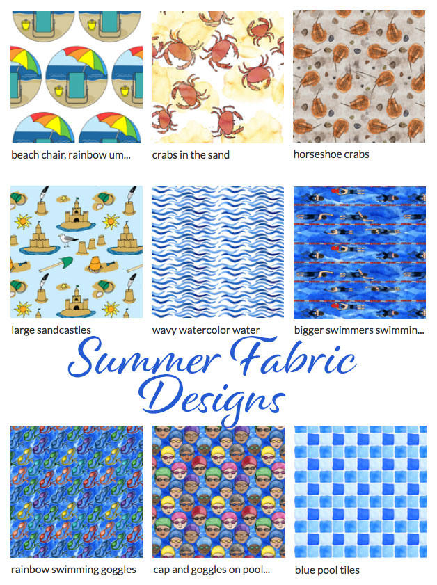 Summer fabric designs by Eileen McKenna | beach | pool | print patterns | summer themed fabrics