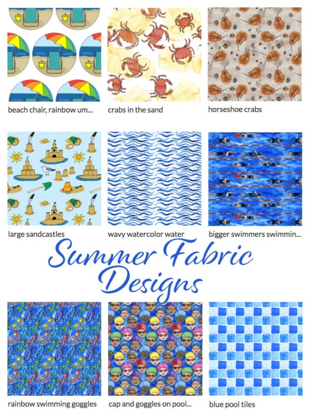 Summer fabric designs by Eileen McKenna | beach | pool | print patterns | summer themed fabrics